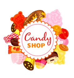 Sweet candy shop concept background cartoon style vector