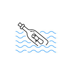 Thin line message bottle in waves vector