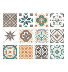 tile ornament colorful patchwork set ceramic vector image