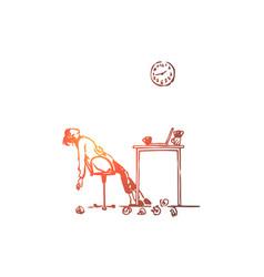 tired freelancer woman overwork deadline vector image
