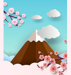 Travel postcard and poster of japan with fuji vector