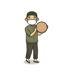 Ustad character play tambourine and wearing vector