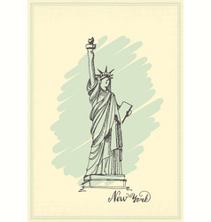 Vintage postcard with a sketch of the statue of vector