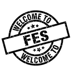 Welcome to fes black stamp vector