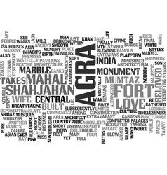 What to see in agra text word cloud concept vector