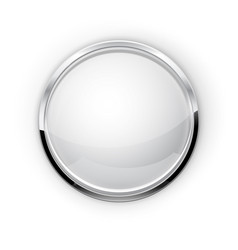 Whie glass button with metal frame vector