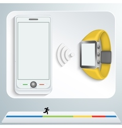 white smartphone and yellow smart watches vector image