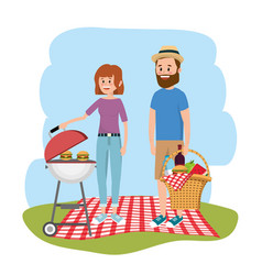 woman and man together with grill and hambuergers vector image