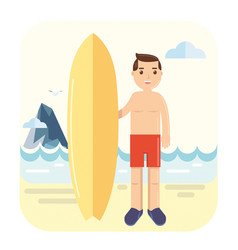 young surfer pose next to his surfboard vector image