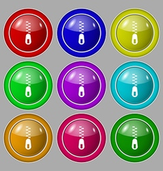 Zipper Icon sign symbol on nine round colourful vector