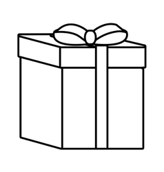 gift box ribbon event celebrate linear vector image vector image