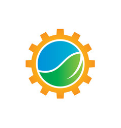 Green leaf with gears logo image vector