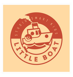kids club logo with little boat cute kindergarten vector image vector image