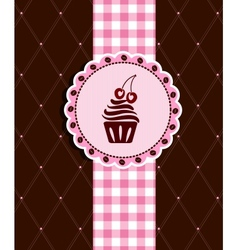 Postcard with cupcake vector image vector image