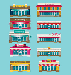 set of flat design restaurants and shops facade vector image