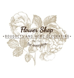 shop emblem over rose sketch vector image vector image
