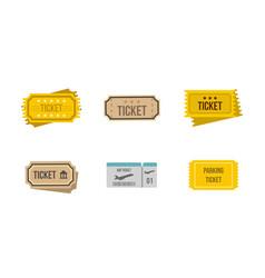 ticket icon set flat style vector image