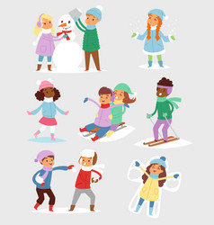 winter christmas kids playing games outdoor street vector image