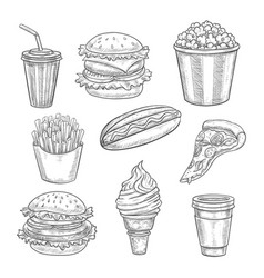 fast food sketch isolated icons set vector image vector image
