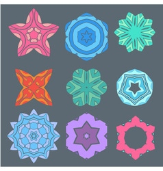 Retro color geometry ornament design on gray backg vector image vector image