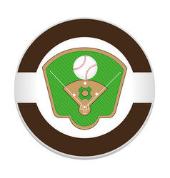baseball sport field emblem icon vector image