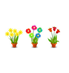 Bright Colorful Flowers Clip Art vector image vector image