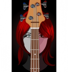 girl with guitar vector image vector image