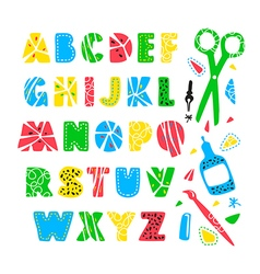 Hand drawn creative alphabet vector image