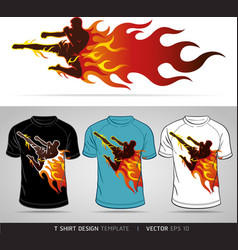 T-shirt design boxing sport with fire vector image vector image