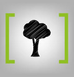 tree sign black scribble vector image vector image