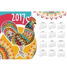 calendar 2017 Colorful rooster vector image