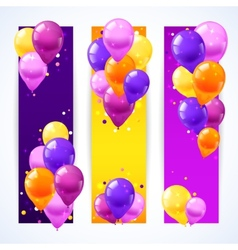 Colorful Balloons Banners Vertical vector image
