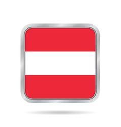 flag of austria shiny metallic gray square button vector image vector image