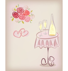 Love gift card with champagne vector image vector image