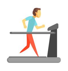 Man running on thread mill colorful cartoon vector