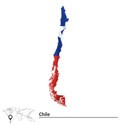 Map of Chile with flag vector image