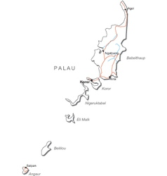 Palau Black White Map vector image