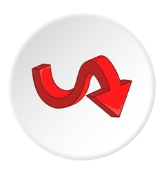 Red curved arrow down icon cartoon style vector image vector image