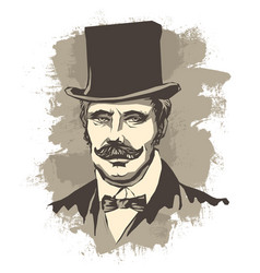 retro solid businessman with mustache in a bow vector image vector image