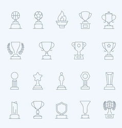 Trophy Awards thin outline stroke icons vector image vector image