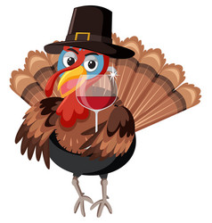 A turkey character on white background vector
