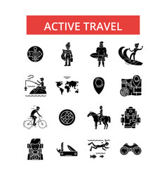 active travel thin line icons vector image