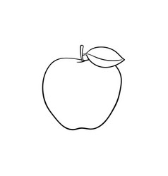 apple fruit hand drawn sketch icon vector image
