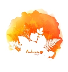 Autumn watercolor stain with white foliage vector image