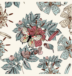 background with lily flowers butterfly hand drawn vector image