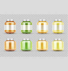 bafood jars set glass puree bottles with cap vector image