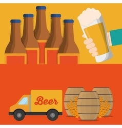 banner truck beer and bottles barrel vector image