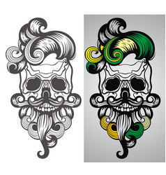 bearded skull vector image