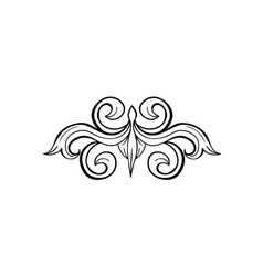 black isolated hand drawn floral greek decoration vector image