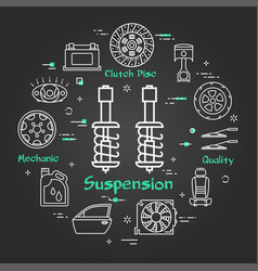Black linear banner suspension vector